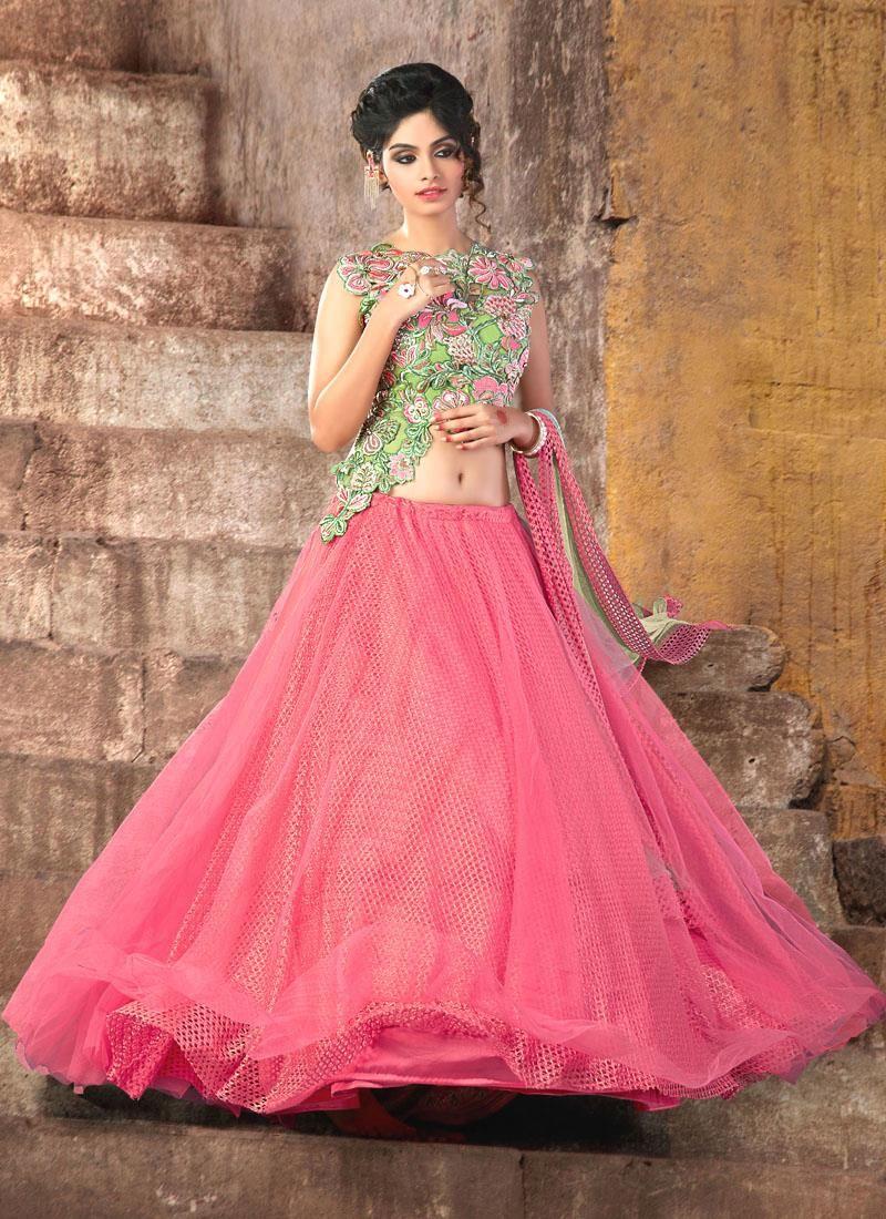 Elite Embroidered Work Rose Pink A Line Lehenga Choli | Lehenga ...