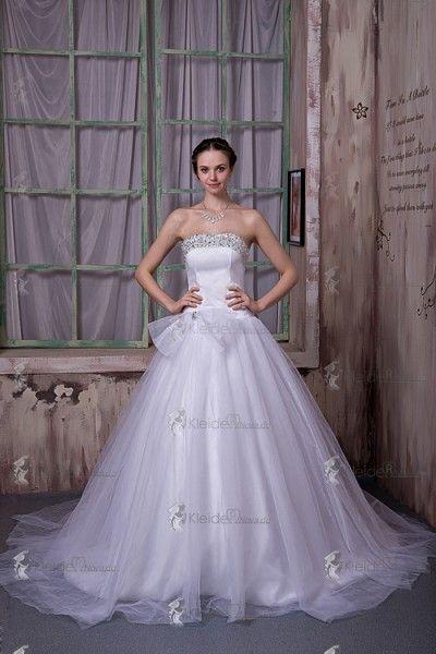 Weiß A-Linie Tüll Brautkleider Brautmoden Mit Schleife Und Perlen