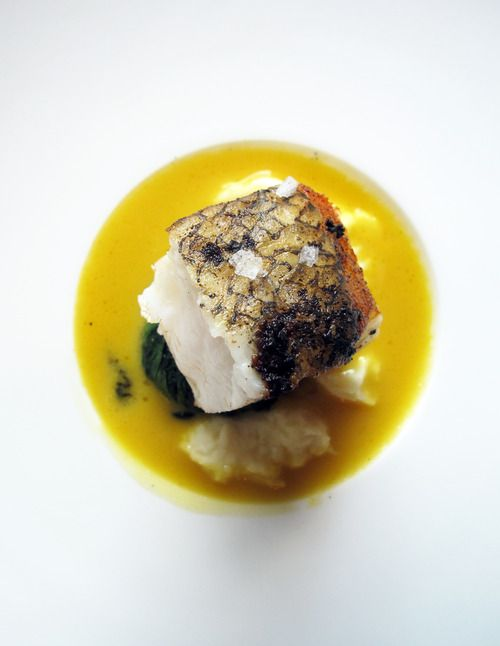 Sea Bass With Sweet Parsnips Arrowleaf Spinach And Saffron Vanilla From The French Laundry Cookbook Gourmet