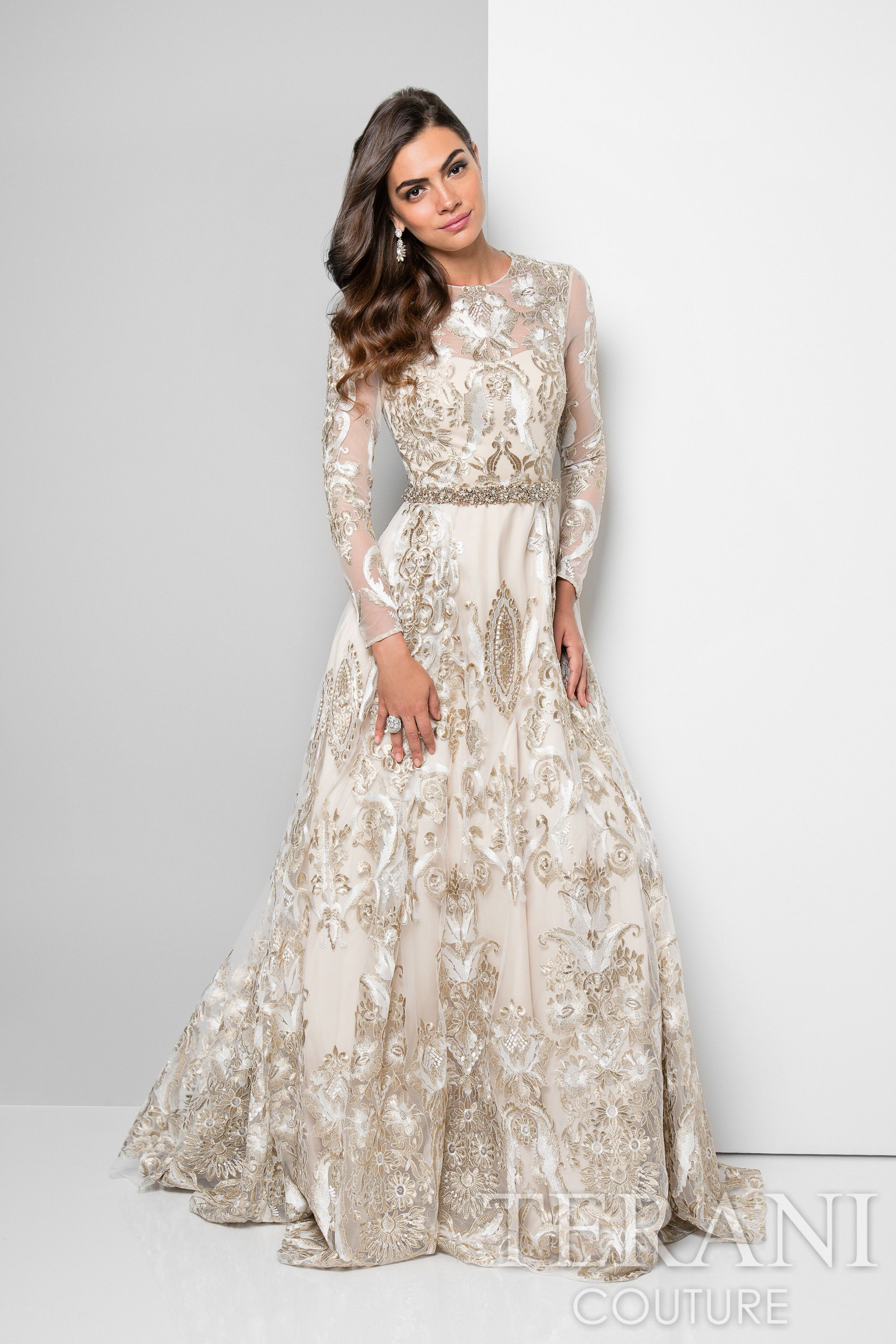 Designer dress with two tone metallic embroidery that is - Designer red carpet dresses ...