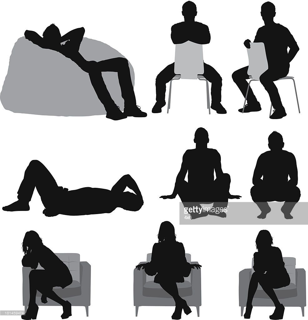 Silhouette Of People Sitting In Different Silhouette People Silhouette Architecture People Illustration