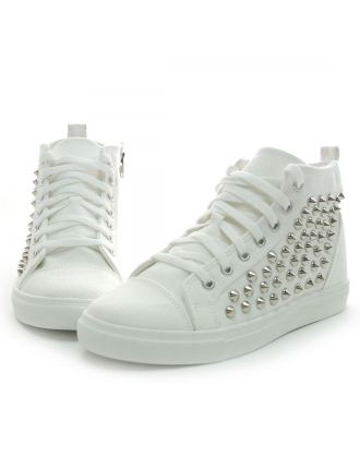 30e585cf9bc09 White Studded High Top Sneakers Men Shoes Korean Fashion