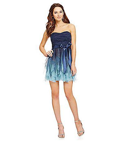 Teeze Me Strapless Ombre Corkscrew Dress | Dillards.com ////// I ...