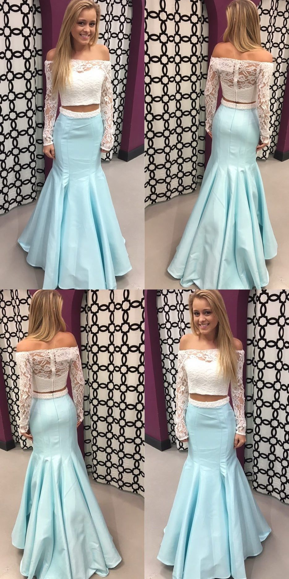 Gorgeous Two Piece Off the Shoulder White Lace and Ice Blue Mermaid ...