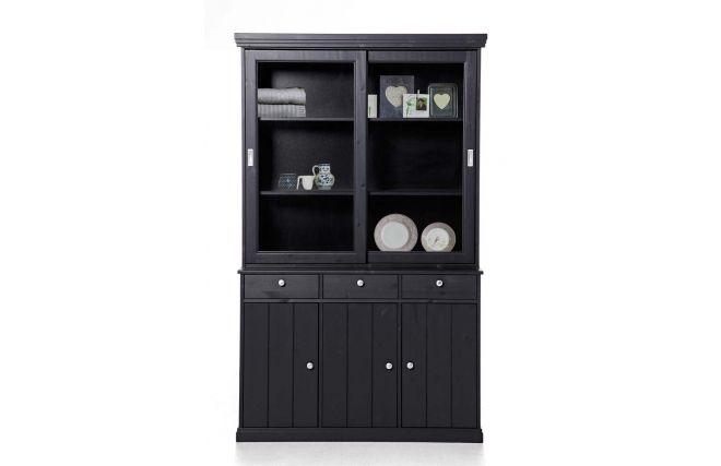 buffet vaisselier pin noir abaco salons. Black Bedroom Furniture Sets. Home Design Ideas