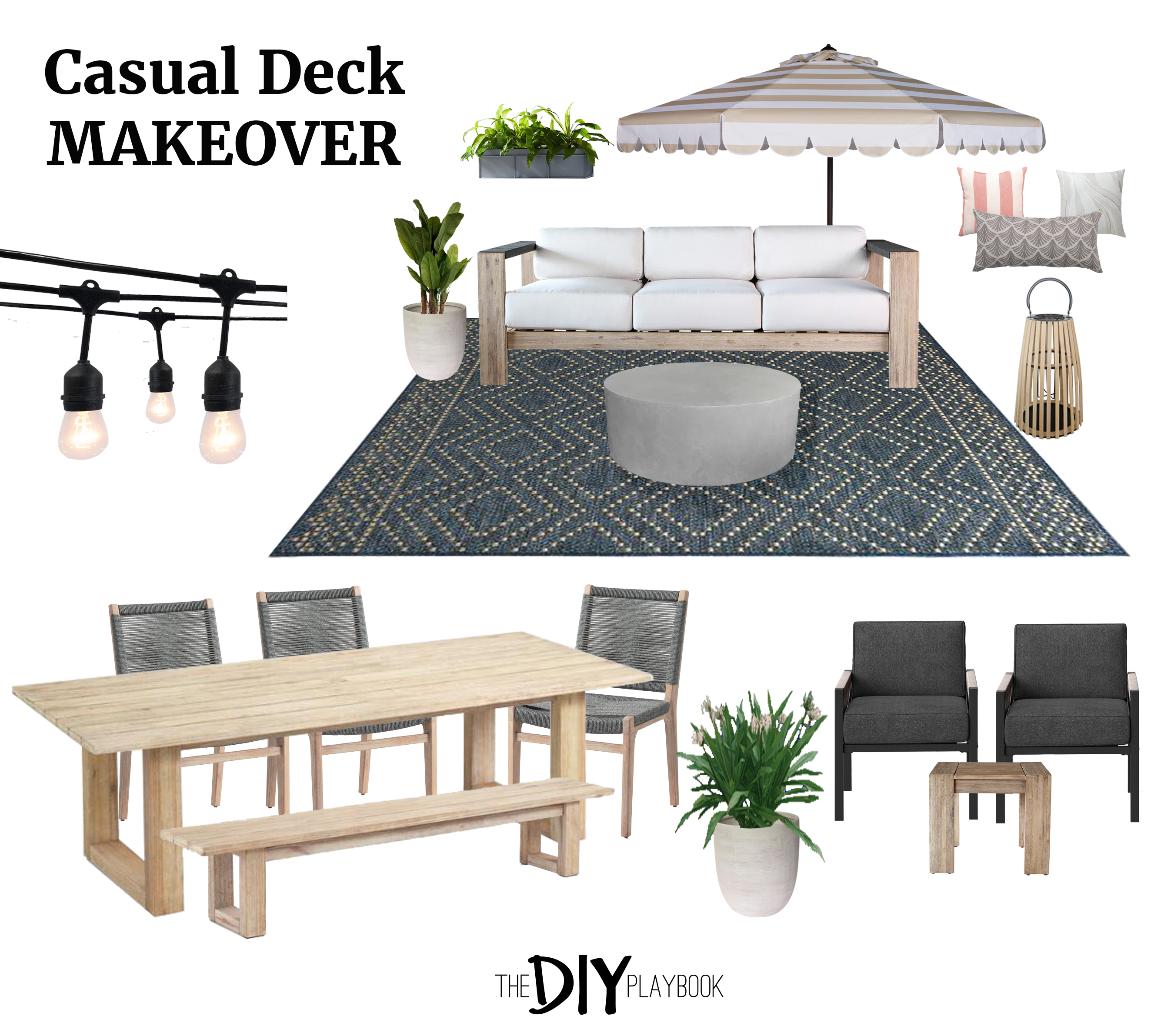 Patio Furniture Layout for a Large Deck  The DIY Playbook  Casual Deck makeover  patio furniture layout mood board How to figure out patio furniture layou