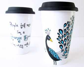 Travel Mug Hand Painted Coffee Keeps Me Going Until It S Time For Wine Double Wall Porcelain Travel Mug Typography Custo Custom Mugs Mugs Coffee Cup Design