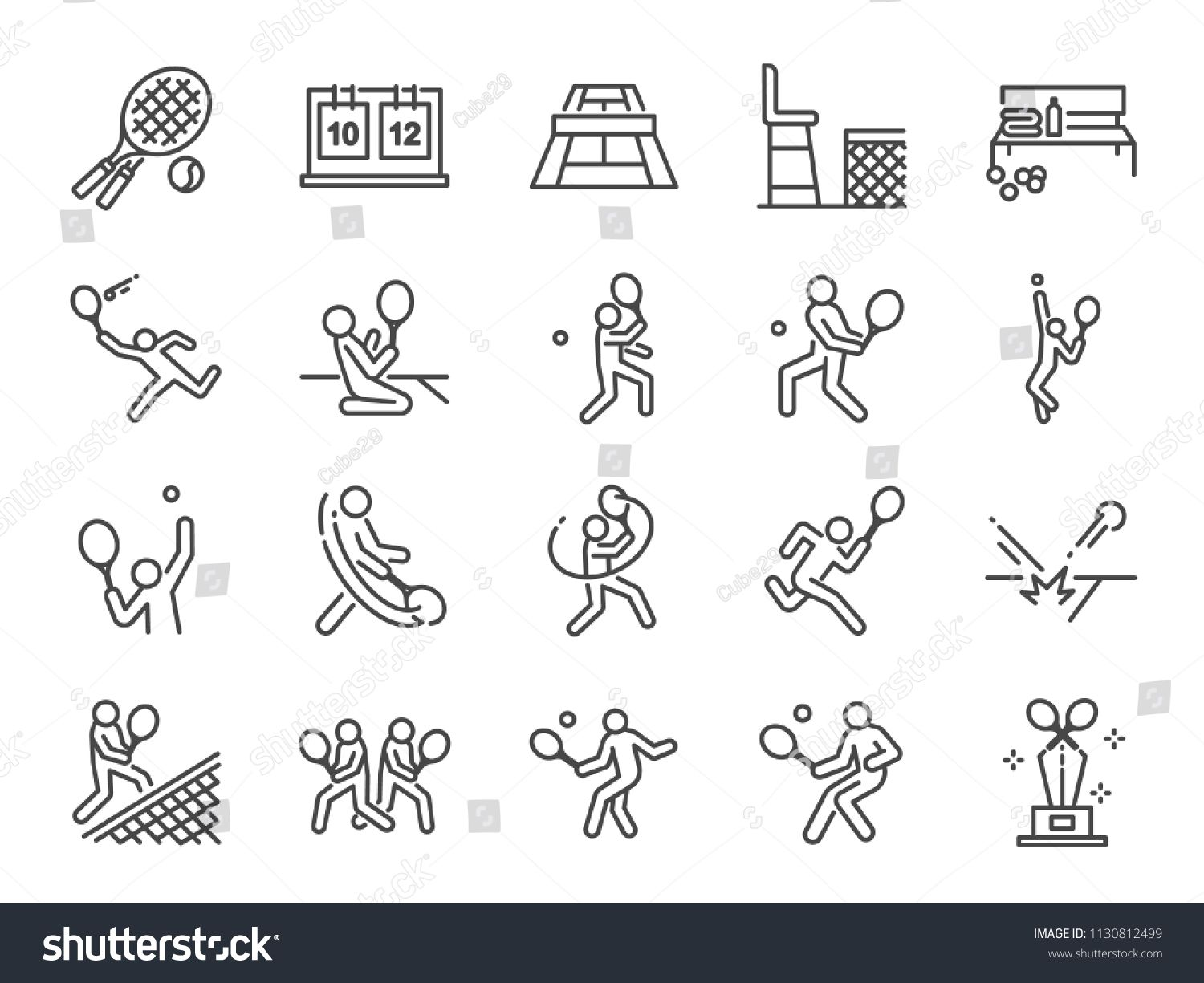 Tennis Icon Set Included Icons As Doubles Tennis Tennis Player Match Serve Forehand Backhand And More Included Icon Icon Set Vector Free Icon Set Vector