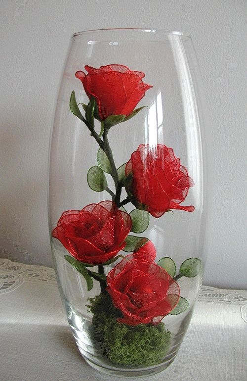 Handmade small red rose arrangement by liyunflora on etsy for Small rose flower arrangement