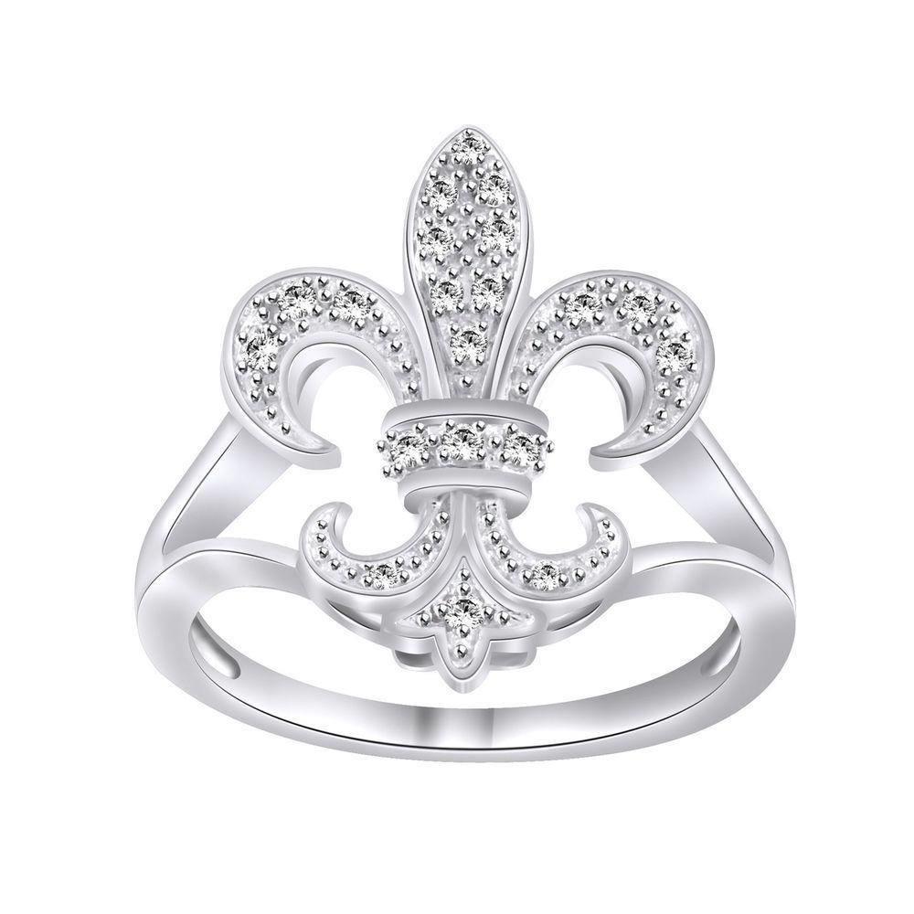 10K Solid White Gold 0.20ct Round Cut D/VVS1 Diamond Fleur De Lis Ring #affinityengagementjewels #FleurDeLis
