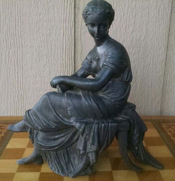 Antique Art Nouveau Or Victorian Greek Lady Spelter Clock