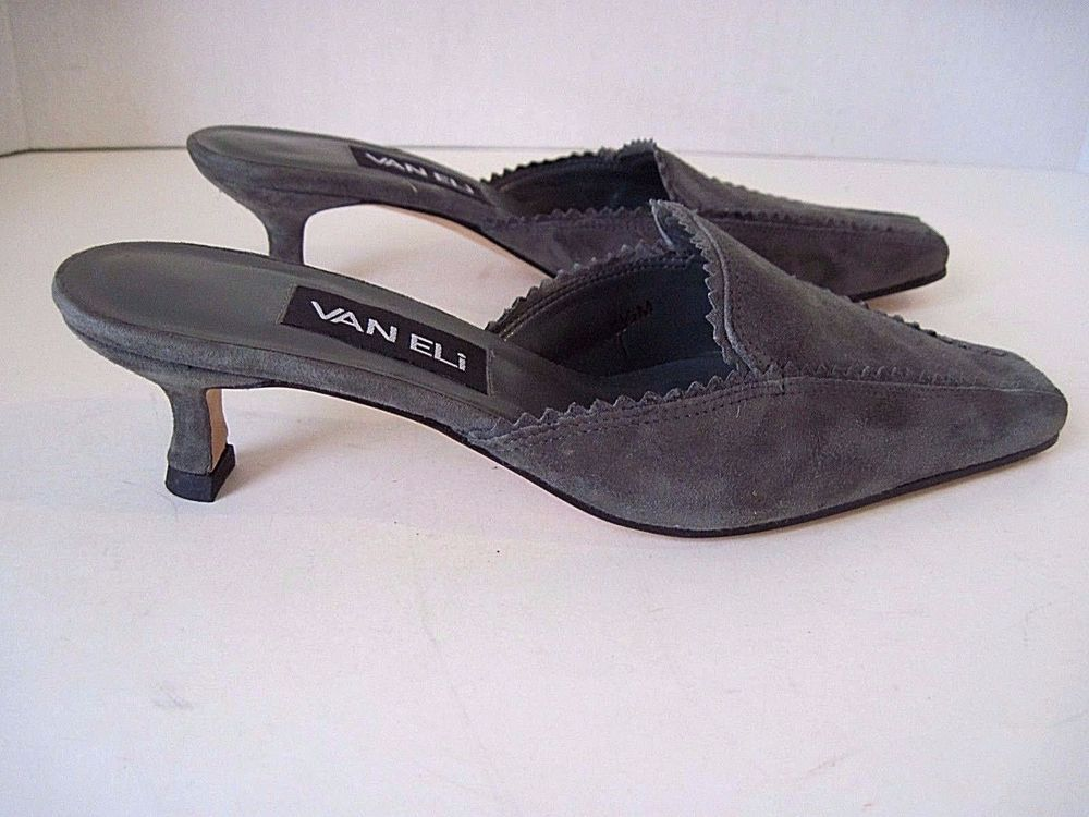VAN ELi Gray Slip On Kitten Heel Pointed Toe Mules Suede  Size 6 1/2, Excellent  #VanEli #KittenHeels #Casual