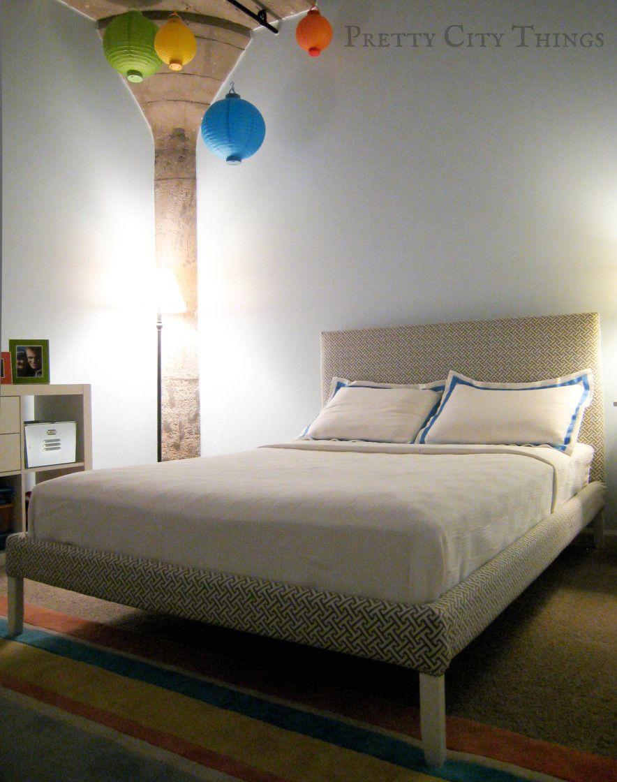 Easy DIY upholstered bed using cheap IKEA bed frame | IKEA makeover ...