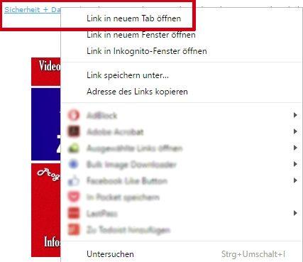 Durch Rechts Klick Auf Einen Link Erscheint Ein Kontextmenu Browser Chrome Fenster Google Internet Programm Registerkarte Registerkarte Google Programm