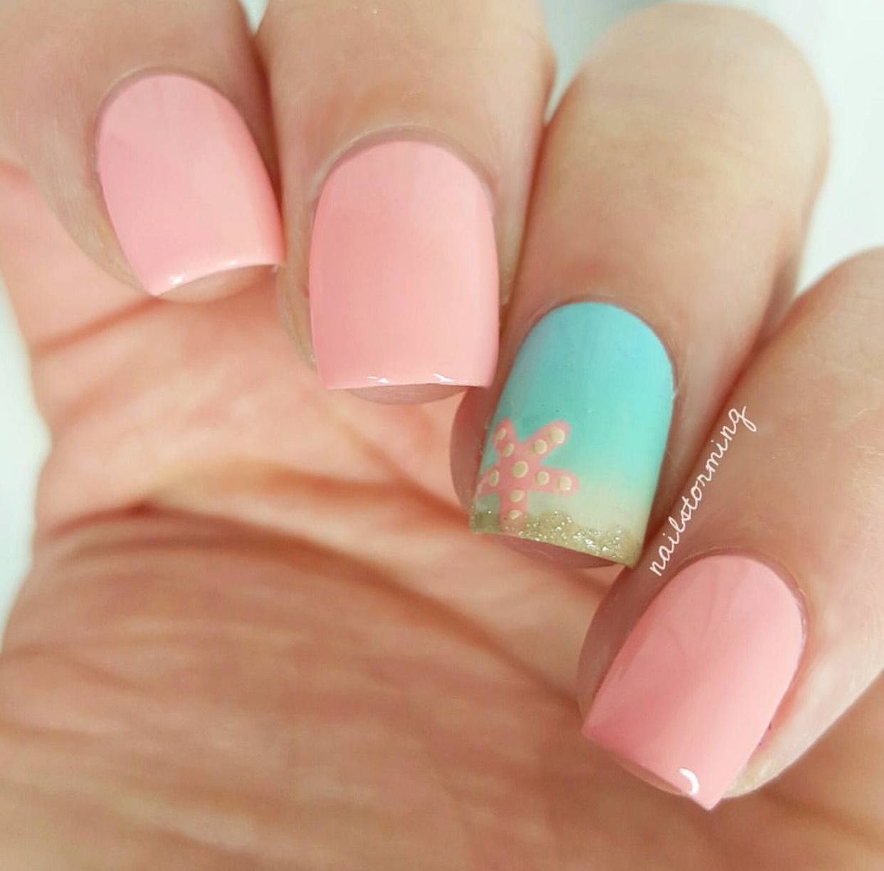Starfish nails … | Pinteres…