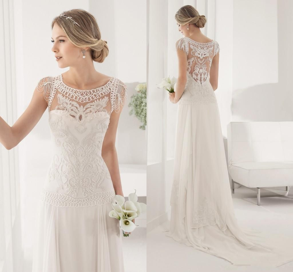 Real Picture New Style Neckline Bridal Gowns Sexy Button Back 2016 Beach Wedding Dresses Cheap Court Train Chiffon Spring Wedding Gown Custom Wedding Dress Lace Bridal Gowns From Modrengrildress, $217.09| Dhgate.Com