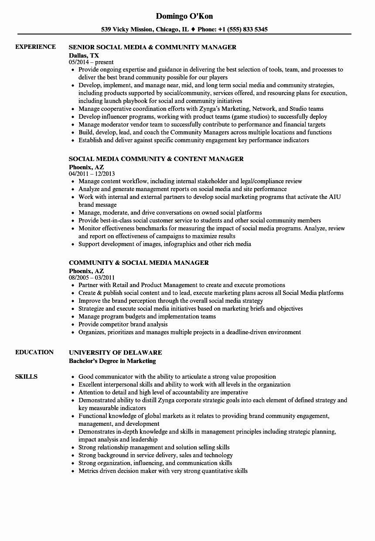 Social Media Manager Resumes Fresh Munity Social Media Manager Resume Samples Manager Resume Job Resume Examples Resume Template Examples