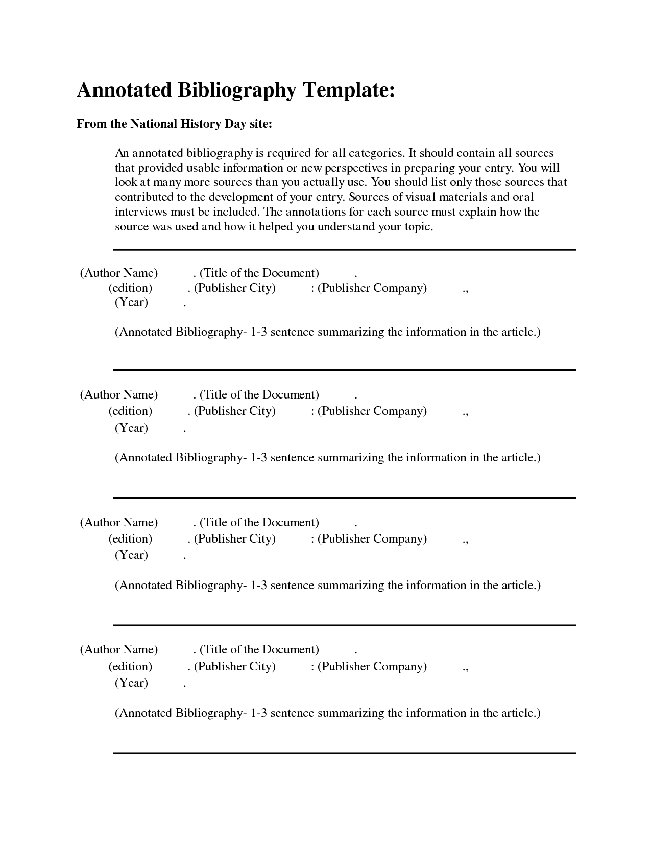 Free Apa Annotated Bibliography Template  Stuff