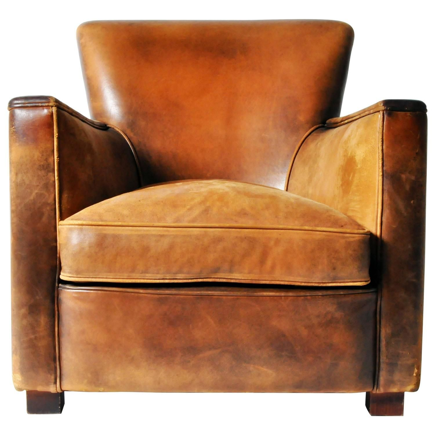 Petite Distressed Leather Club Chair From A Unique Collection Of