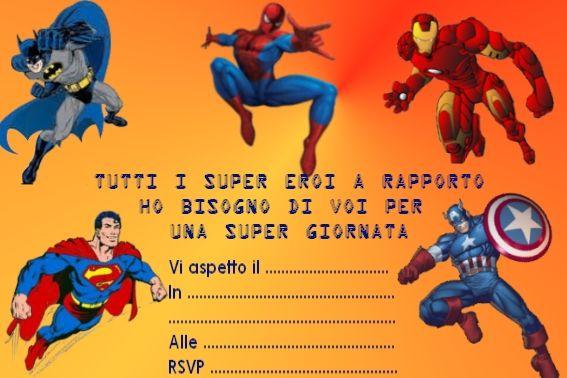 Invito Compleanno Super Eroi Mio Feste Bimbi Superhero Birthday