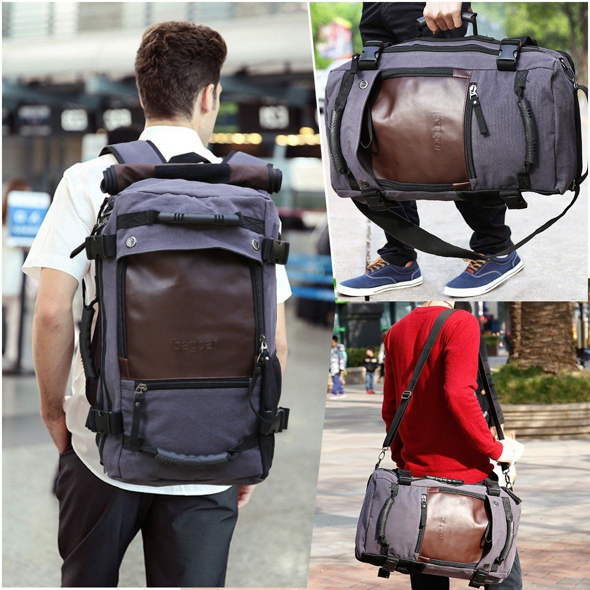 ibagbar Canvas Backpack Travel Bag Hiking Bag Camping Bag