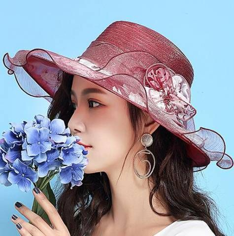 06122054 Wide brimmed flower sun hats for ladies sun protection hat | Summer ...