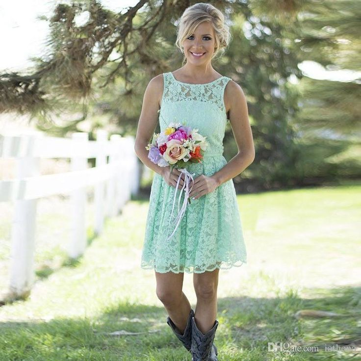 Country Western Mint Green Lace Bohemian Bridesmaid Dresses 2016 ...