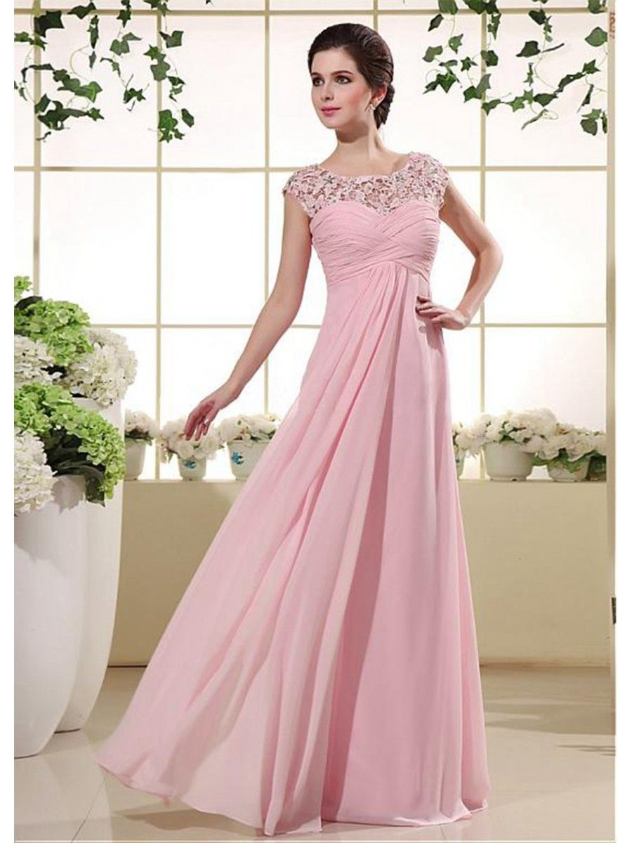 Empire Long Pink Chiffon Lace Maternity Prom Formal Evening Dresses ...