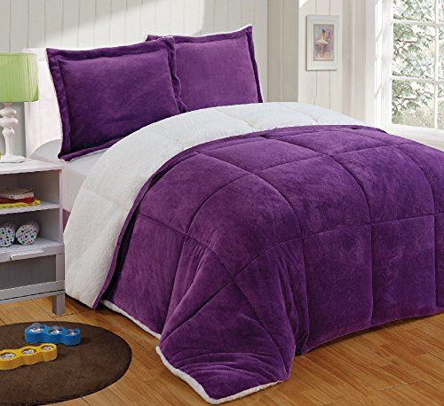 Chezmoi Collection 3-piece Micromink Sherpa Reversible Down ... : purple quilt sets - Adamdwight.com