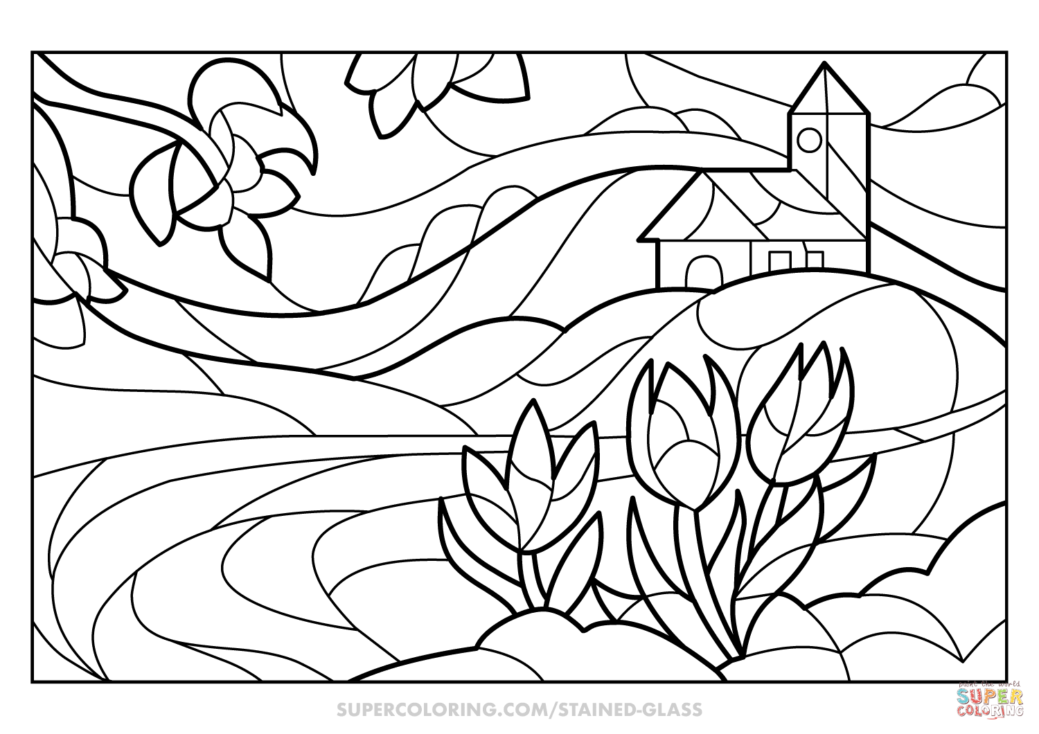 Spring Scene Stained Glass coloring page  Free Printable Coloring