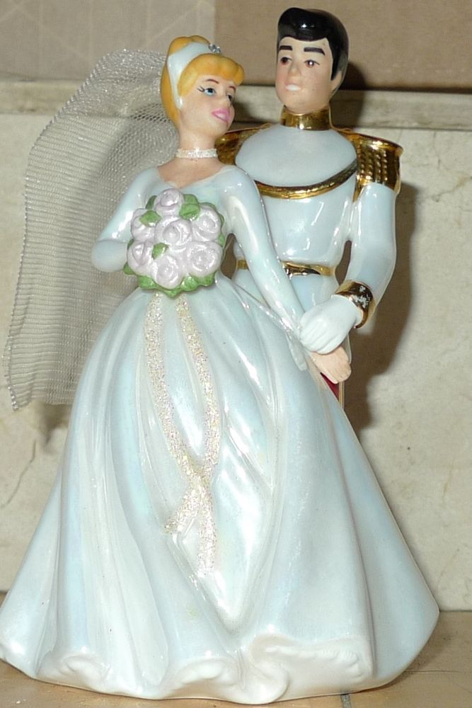 Walt Cinderella Prince Charming Disney Porcelain Wedding Cake Topper EUC