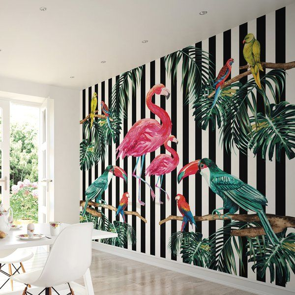 Create A Stunning Feature Wall In Any Room Of Your House With The Island Life Mural Wallpaper Roll Bold Black And White Striped Background Spectacular