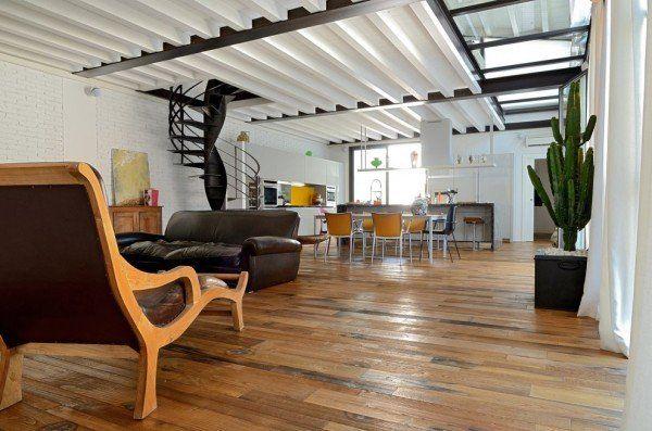 Loft Sangervasio-03-1 Kind Design...industrial district in Brescia, Italy...wooden floor is made from old wine oak barrels
