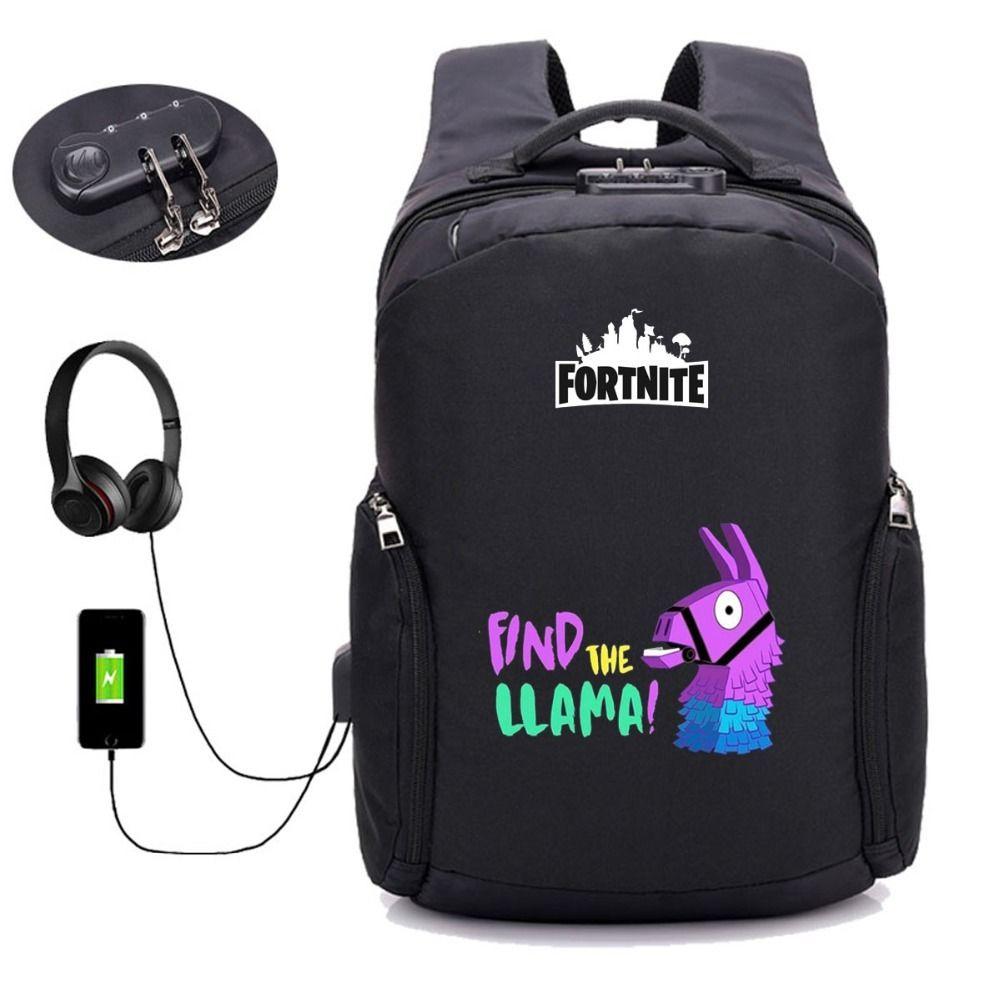7072017d34e Game Fortnite Battle Royale backpack USB Charging Anti theft ...