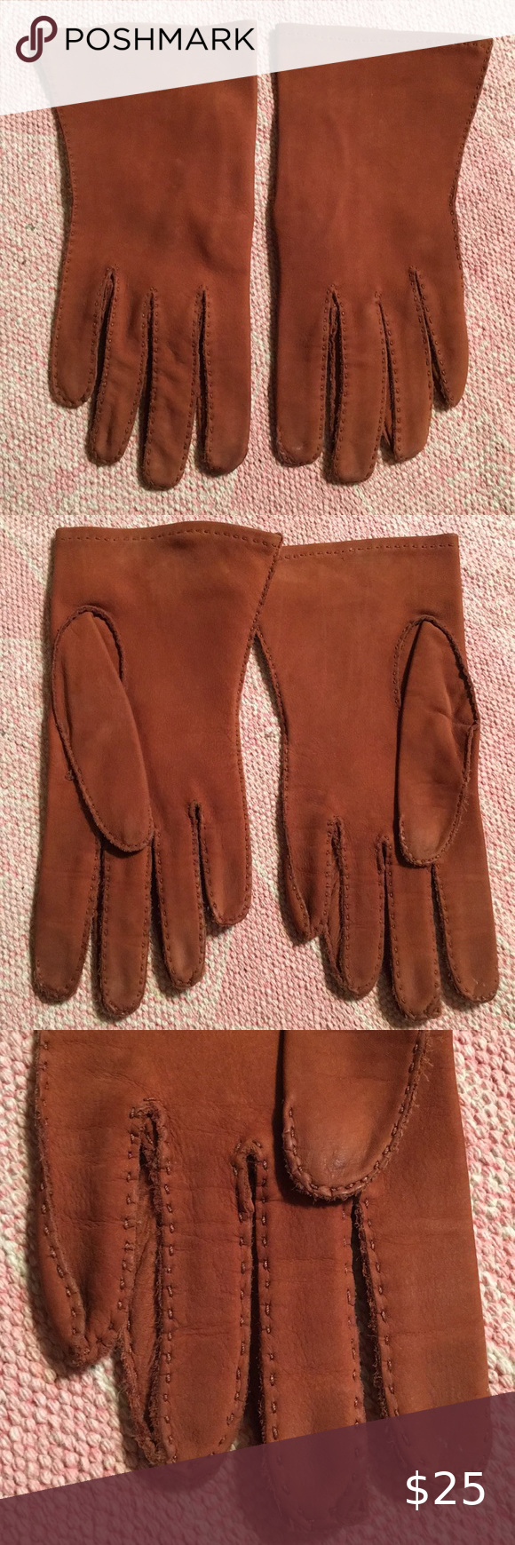 Chanel logo mutton suede leather shearling gloves in 2020