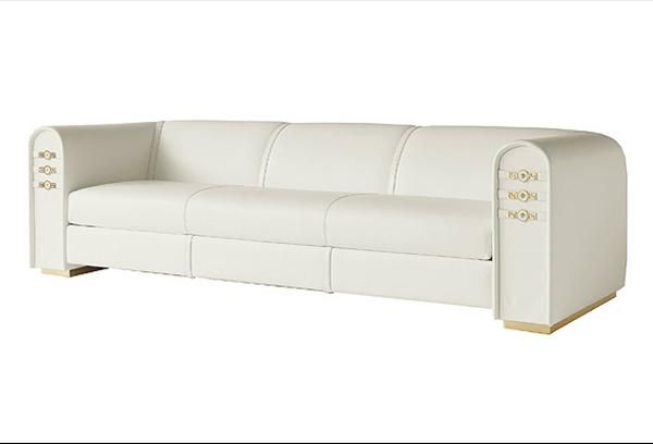 Sofa Cover  White Leather Sofa with Gold Metal Versace Signature