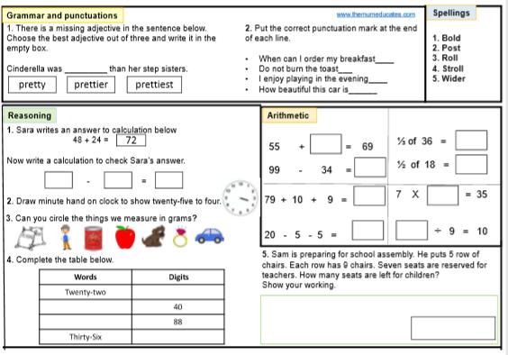 KS1 SATS worksheet. Year 2 tests. Grade 2 children Maths ...