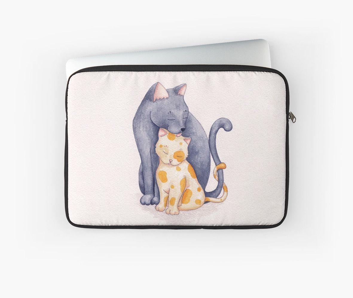 Mother's Love by Timone laptop sleeves cat watercolor