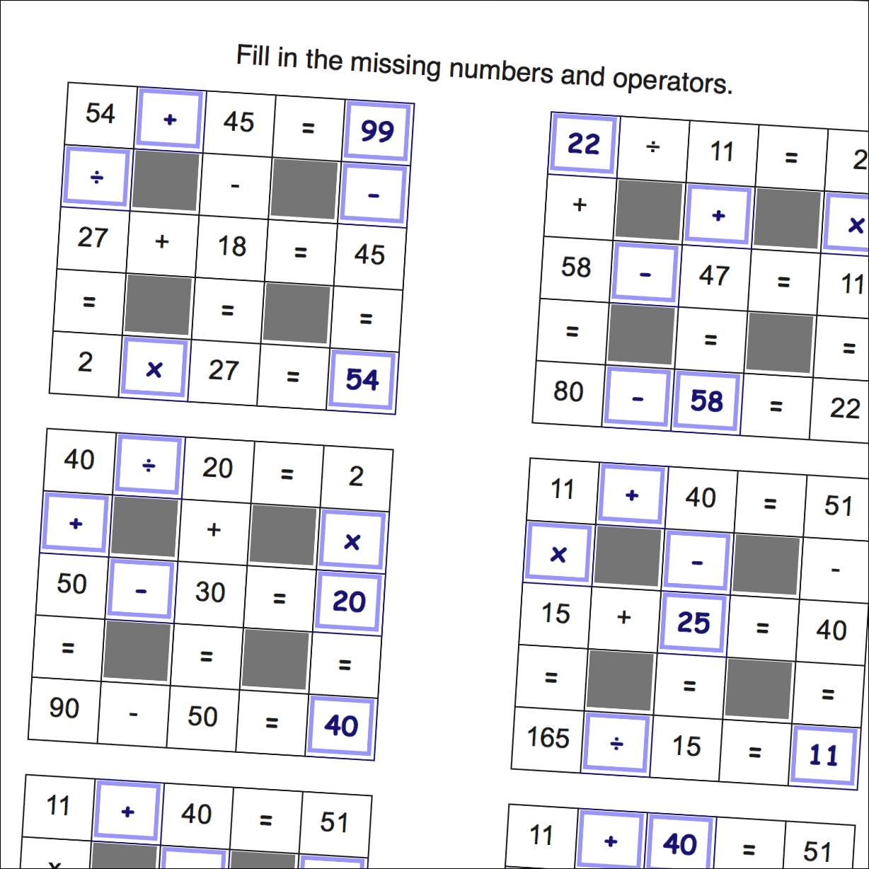 Math Worksheets Grid Puzzle Worksheets All Operations