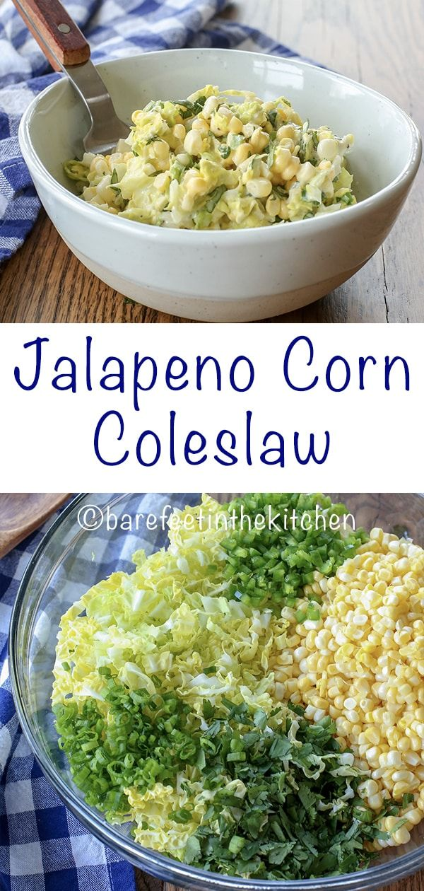 Jalapeno Corn Coleslaw is the sweet and spicy side dish for every barbecue! - get the recipe at barefeetinthekitchen.com #dinnersidedishes