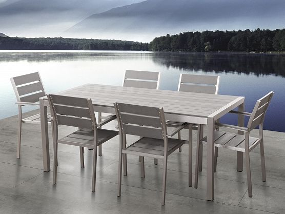 Wundervoll Aluminium Gartenmöbel Set Grau   Tisch 180cm   6 Stühle   Polywood   VERNIO  ✓ Gratis