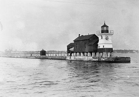 1884 Pierhead Light at Rochester Harbor  Photograph courtesy U.S. Coast Guard
