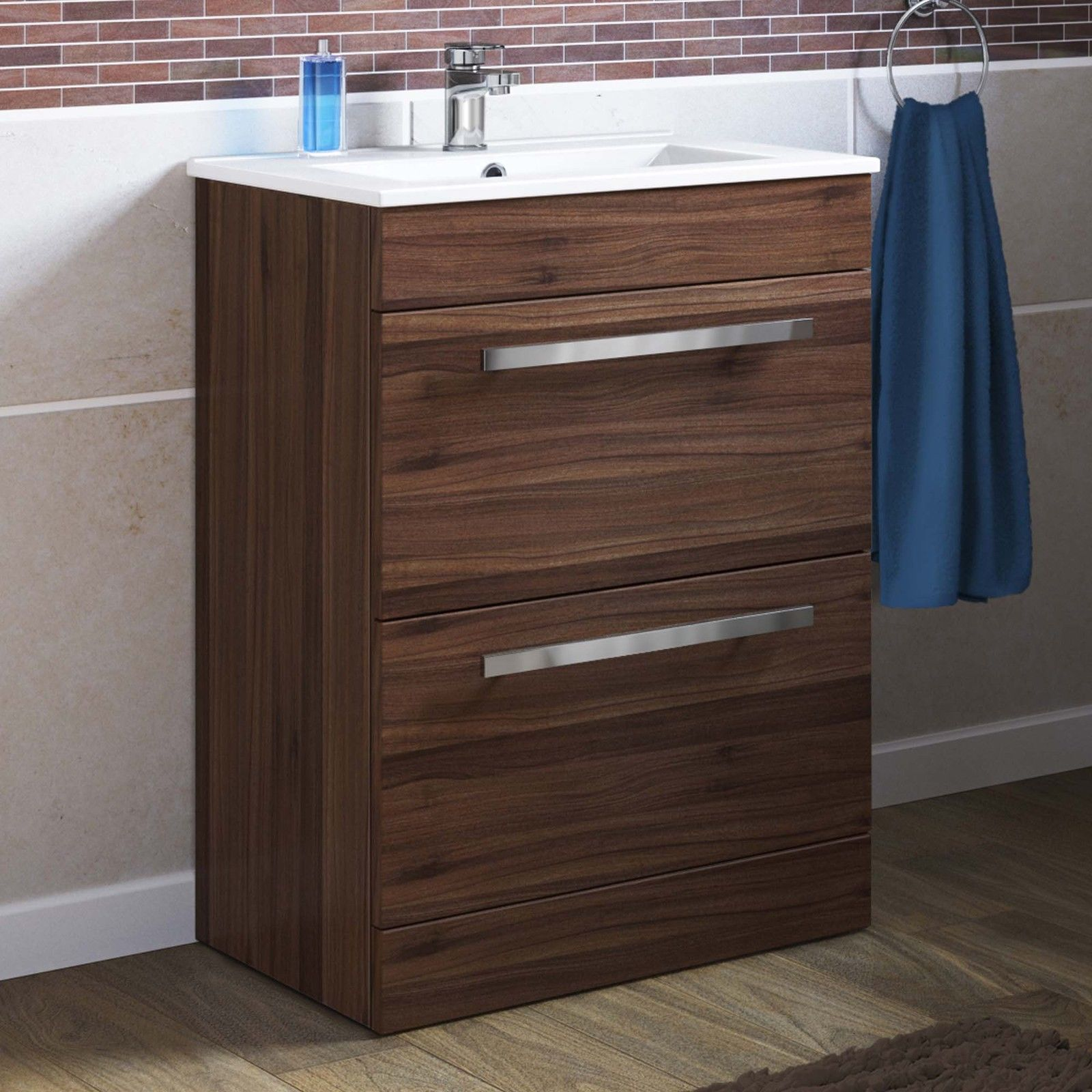 Details about modern bathroom walnut drawer storage cabinet u basin