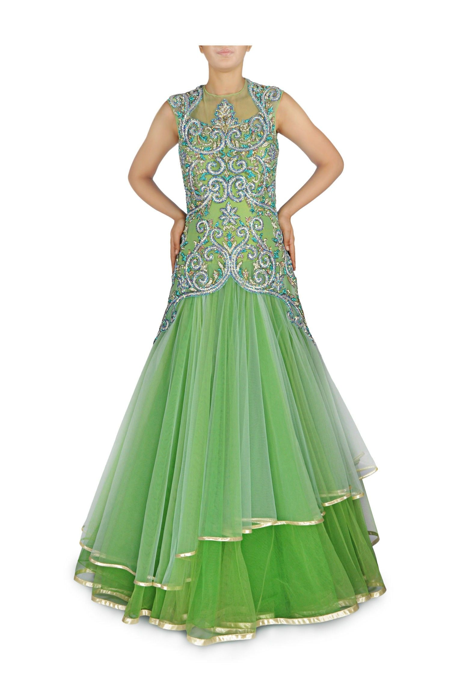 Green pearl embroidered gown gowns gowns by ladyselection
