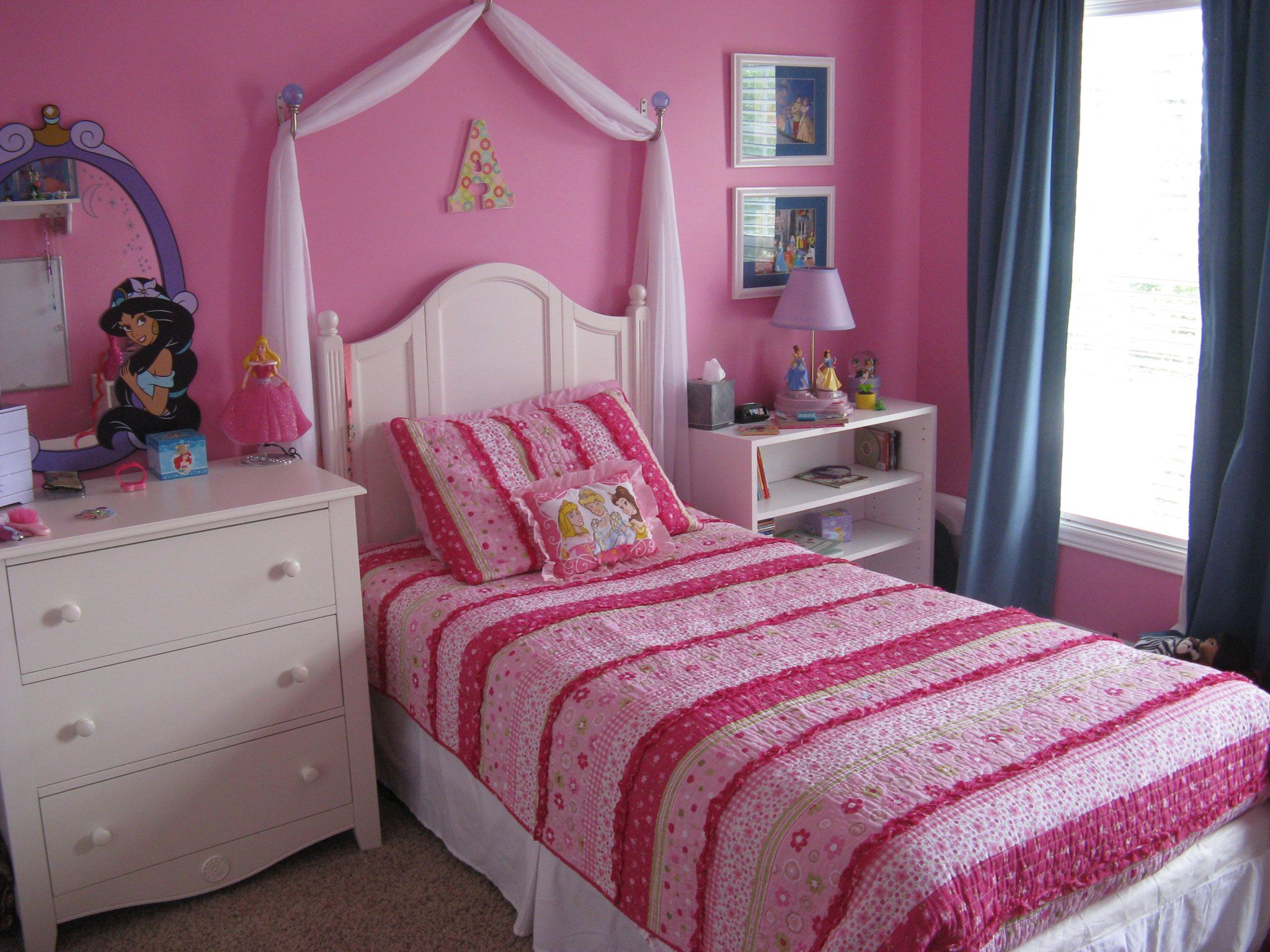 Attractive Dazzling Girls Bedroom Pink Color Ideas With Single Beds As Well As Pink  Cover Bedding And