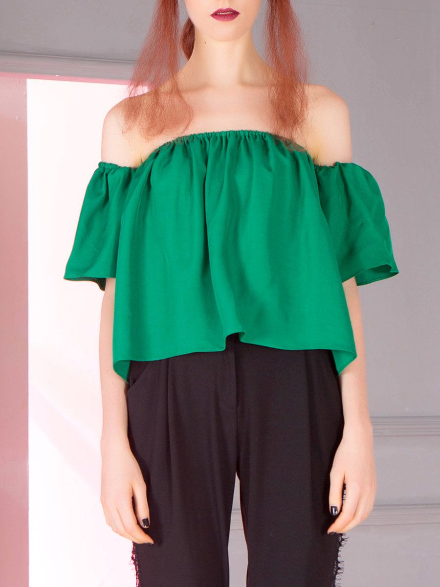 ca9585444975c Shop Blouses - Green Off Shoulder Casual Blouse online. Discover unique  designers fashion at StyleWe.com.