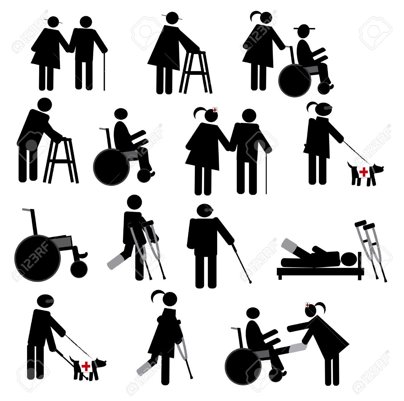 Stock Vector Icon set, Stick figure drawing, Technical