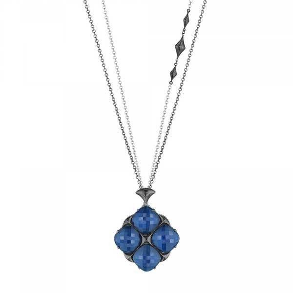 Tacori City Lights Blue Quartz Opera Length Necklace (15.275 NOK) ❤ liked on Polyvore featuring jewelry, necklaces, blue necklace, pendant jewelry, double chain necklace, black pendant necklace and tacori pendant