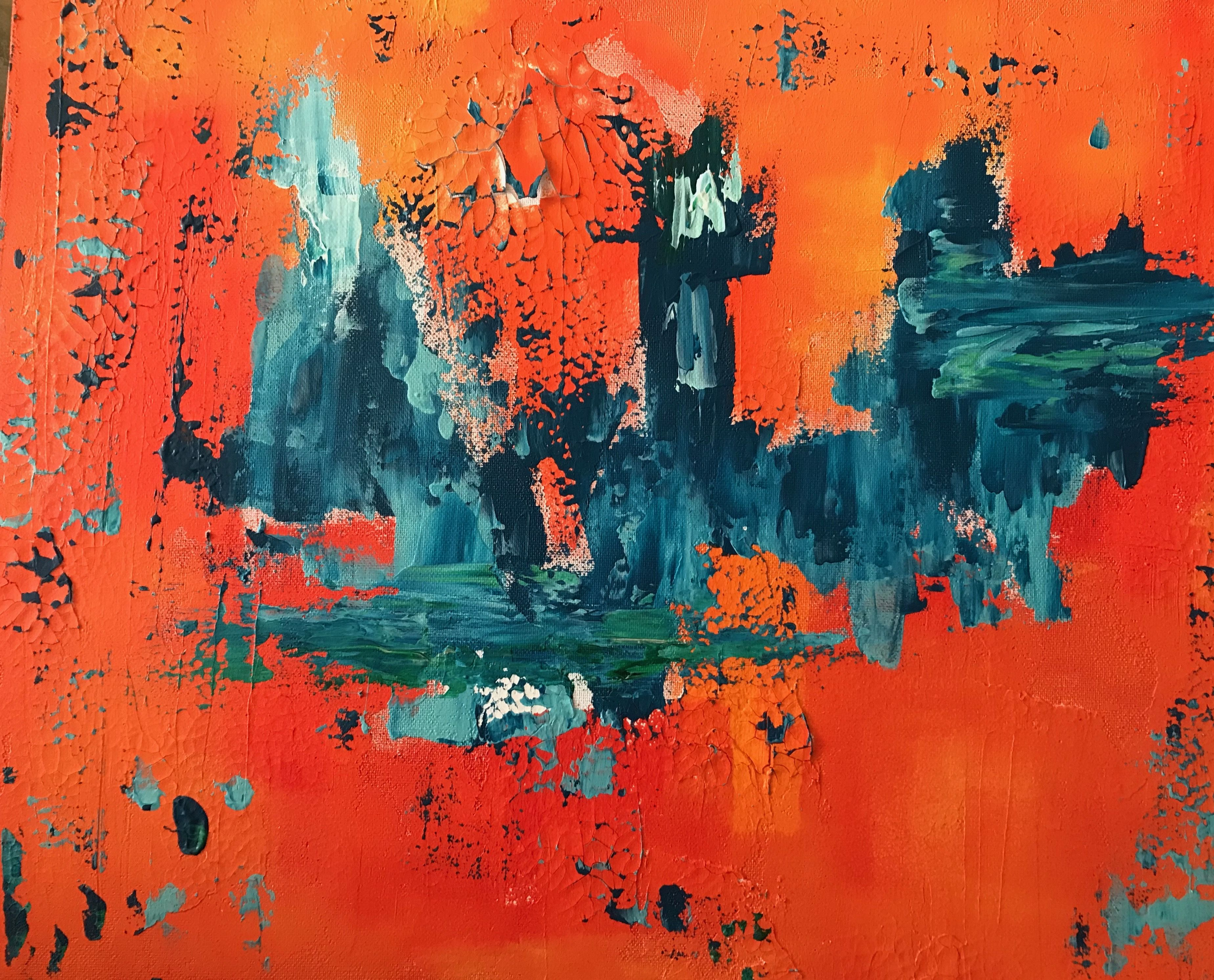 Am Art Acryl Acrylcolour Modern Art Abstract Abstract Art Turkis Orange Green Spachteltechnik Abstrakt 50x70 Cm Le Abstrakt Spachteltechnik Leinen