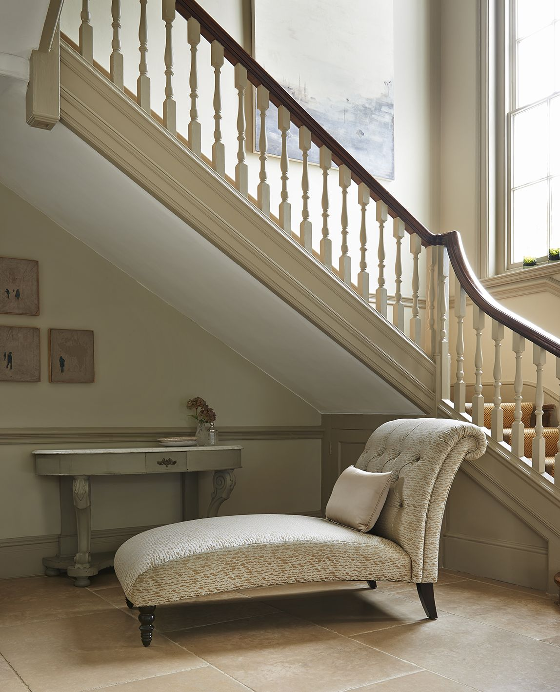 Parker Knoll Eaton Square Chaise in Kavita Co-ordinate Biscuit, with bolster in Asina Cashew